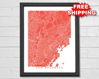 New york street map etsy more colors new rochelle map art malvernweather Choice Image