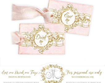 Eat me, Drink me Alice in Wonderland gift tag printables, digital download, party printables, instant download, Personal use only