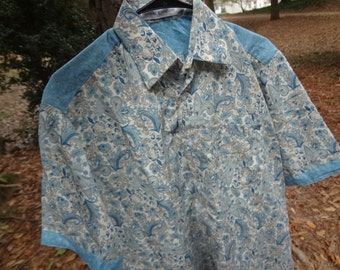 Sky Blue Paisley Men's Handmade Indian Cotton Button Down Pocket Shirt - Father Son Coordinating Outfits - Anurak G702