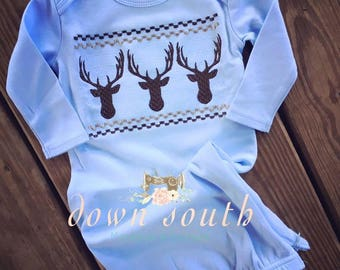 Faux smocked deer baby gown