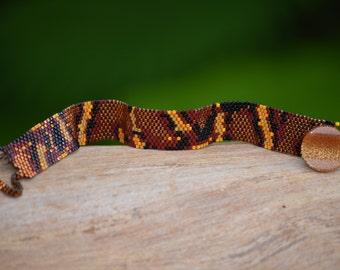 Beaded Snakeskin Bracelet - Copper & Orange Python - Thin Cuff