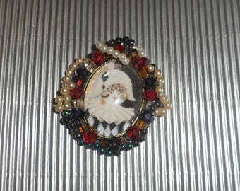 Brooch cat, baroque brooch or pendant with cat: cat costume, Harlequin
