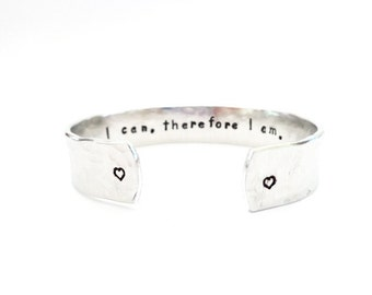 Personalized Secret Message Cuff Bracelet, I can, therefore I... Hammered Texured, Daughters Gift, Graduation Gift, Custom Stamped Bracelet