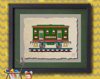 Kid Train Cute post office mail car art Whimsical toy train print adds to kids room train art as 8x10 or 13x19 railroad wall décor