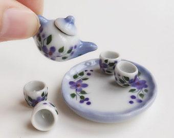 Miniature Tea Set,Miniature Chinese Tea Set,Miniature Drink,Dolls House Tea set, Miniature Tea Pot with 4 cup Set,Miniature tea cup