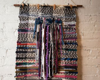 Wall Hanging- Handwoven + Rag Weaving + Boho Chic