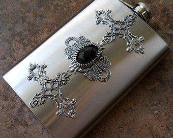Flask, 8 Oz. Celtic Cross Flask, Gentleman's or Lady's Liquor Flask