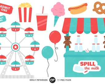 50% OFF SALE! Carnival Clip Art, Ferris Wheel Clipart, Cotton Candy Clip Art - Commercial Use, Instant Download - V1