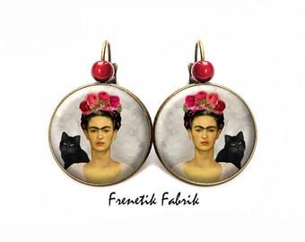 Frida Kahlo black cat earrings