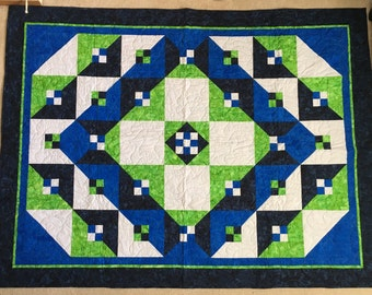 """Talavera Tile - Finished geometric quilt in blue, green, and grey batiks colors - 54"""" x 72"""""""