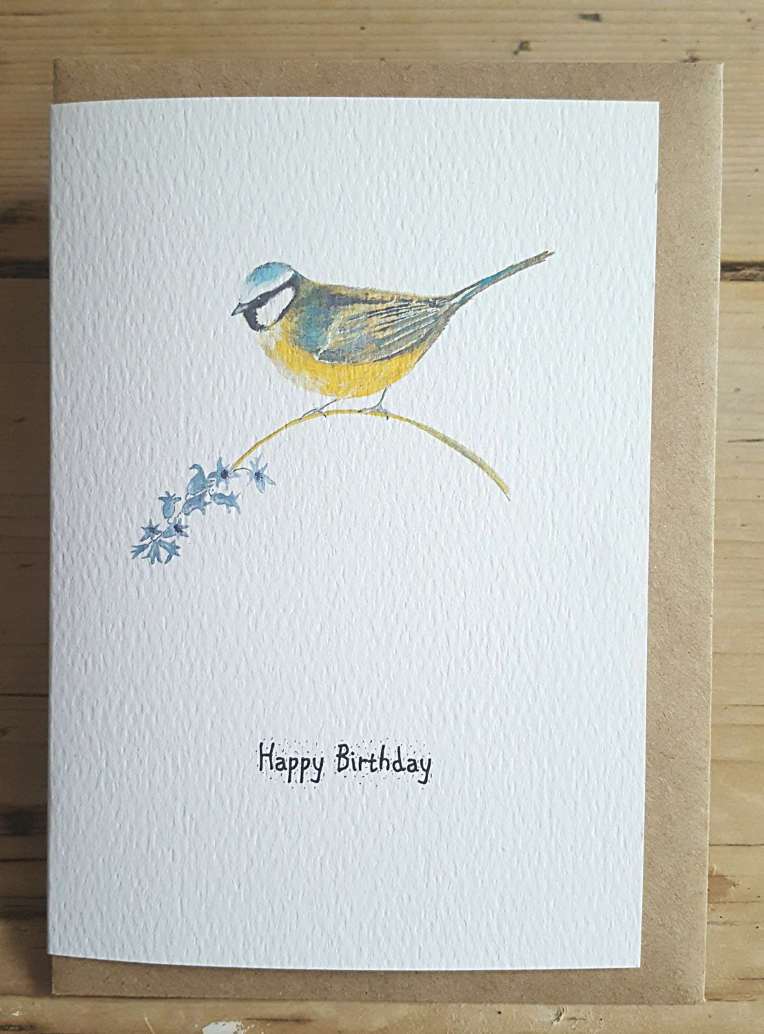 Blue Tit Birthday Card Blue Tit Painting Hand Painted Blue