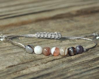 Botswana Agate, Crown Chakra, Chakra Bracelet, Yoga Bracelet, Meditation Bracelet, Aura
