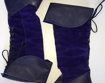 Vintage Electric Blue suede and leather lace up knee high pirate boots size 6.5