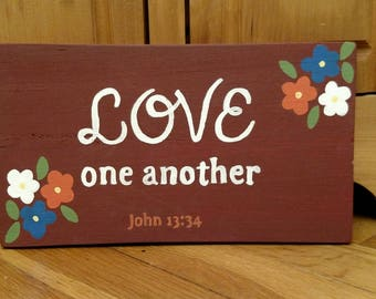 Wood Scripture Sign, Love One Another Wood Sign, John 13:34, Bible Verse on Wood, Scripture Wall Art, Scripture Quote, Christian Gift
