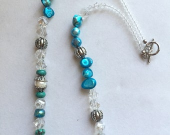 Quartz crystal pearl turquoise necklace