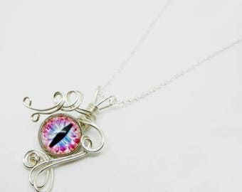 Glass Dragon Eye Pendant - Wire Wrap Dreamweaver Eyeball with 22 inch Sterling Silver Necklace
