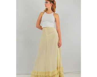 Vintage Lingerie petticoat / 1930s ruffled tulle rayon crinoline long underskirt / Ivory maxi skirt XS / AS IS