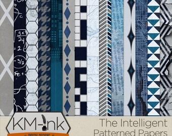 "Geek Printable Patterned Paper Pack - ""The Intelligent"" - Textured Digital Scrapbook Papers in blue"