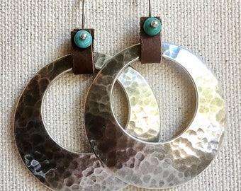 Leather-Tabbed Silver Hoop Earrings