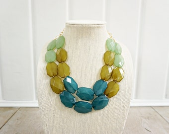Green Ombre Faceted Acrylic Gem Statement Necklace