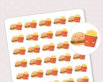 Hamburger planner stickers - Fast food planner sticker - Cute hamburger and french fries planner stickers - 40 kawaii stickers for planner