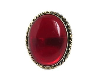 Vintage Red Glass Ring, Braided Ring, Statement Ring, Red Cabochon Ring, Large Oval Stone Ring, Vintage Costume Jewellery Fashion Ring