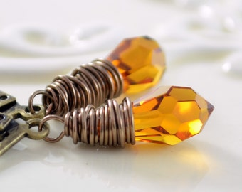 Topaz Crystal Earrings, Genuine Swarovski Amber Teardrops, Wire Wrapped Jewelry, Antiqued Brass Lever Earwires