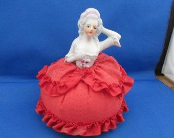 Vintage Ceramic Half Doll Pin Cushion