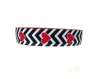 Wide 1 1/2 inch Adjustable Buckle or Martingale Dog Collar in My Love