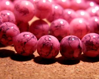8 mm - black, fuchsia - PF111 speckled mottled glass - 50 beads