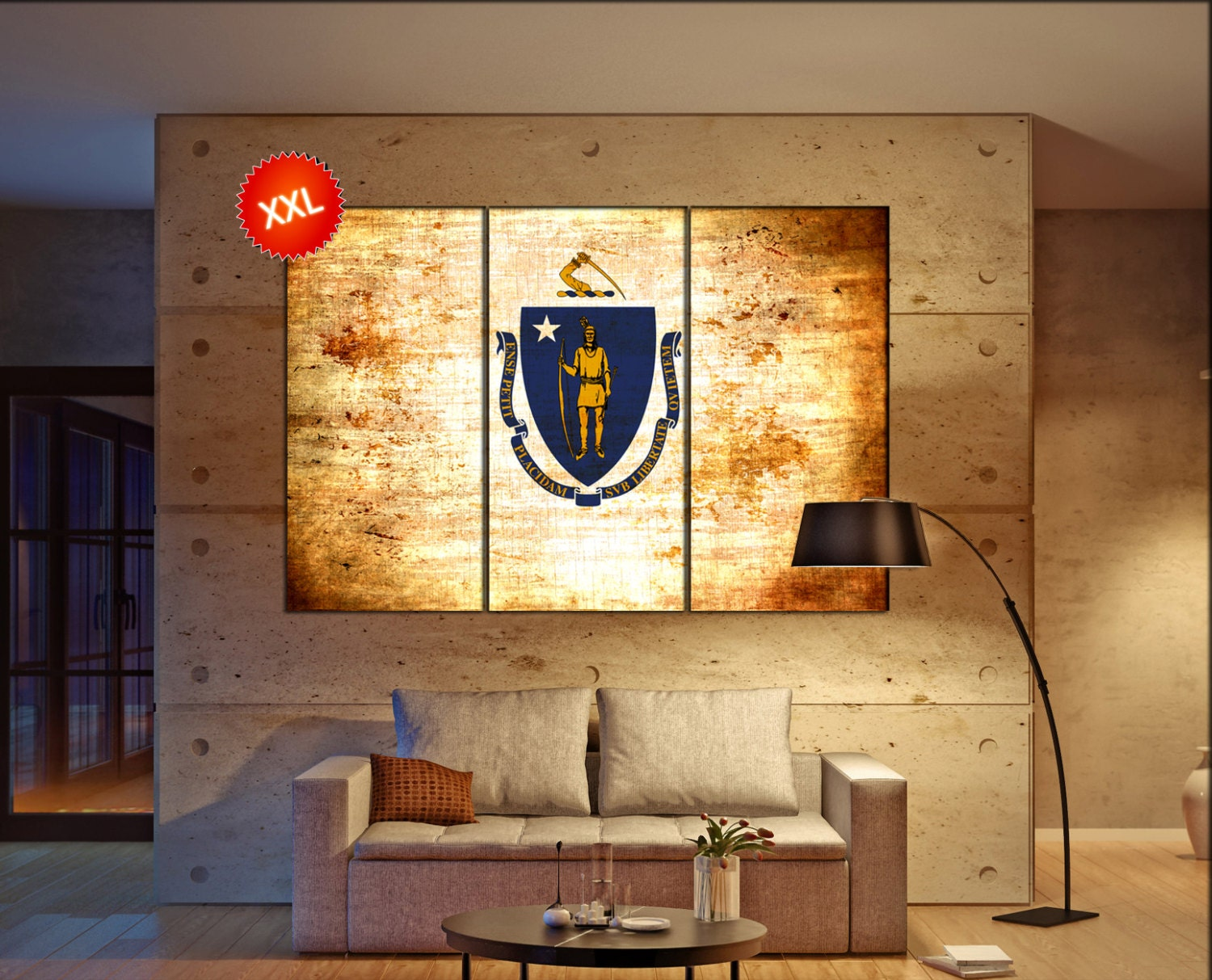 massachusetts state flag canvas massachusetts state flag wall ...