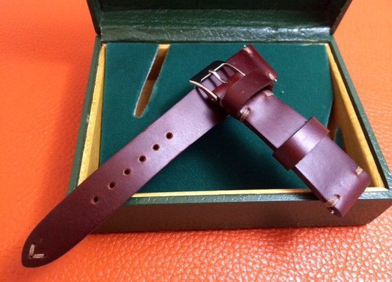 Handmade Leather Watch Strap | Leather Watch Band | Vintage Leather Rolex Strap (Ivory Stitching) - 20mm