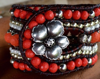 Beaded Cuff Wrap Bracelet, coral faceted gemstones, glass and silver beads with metal hibiscus button closure