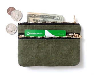 Waxed Canvas Wallet Coin Purse Double Zip Pouch Recycled Waxed Hemp