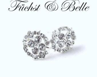 Bridal stud earrings - Oval rhinestones diamond look alike stud bridal earrings - Iona