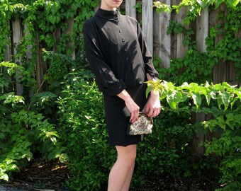1960s Black Crepe 2 Piece Dress