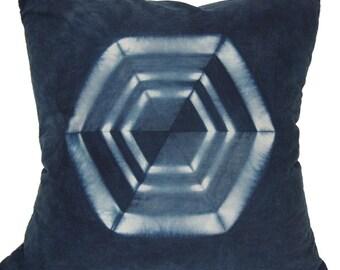 FREE SHIPPING,blue throw pillow, beachy boho pillow cover,navy throw pillows, shibori pillows, indigo pillows, hexagon