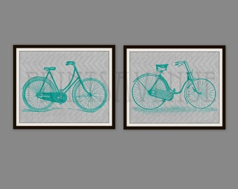 BIKE Art Prints, BICYCLE Wall Art, BIKE Wall Decor, Wall Decor Set, 8x10