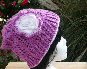 Woman's Crocheted Hat, Ladies Magenta Hat, Ready To Post. Size Average.