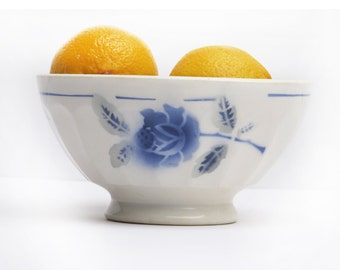 large french  vintage cafe au lait bowl,  with blue stencils flowers, blue roses, French Crockery