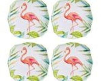 Set of 4 Flamingo Melamine 6 3/4-inch plate