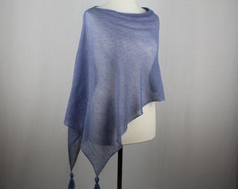 Blue wool poncho, Wool knit poncho, Summer lace poncho, Knitted poncho, Lightweight poncho, Womens knitted poncho