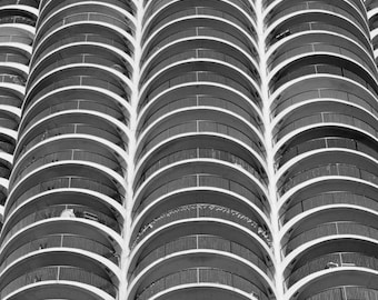 Chicago Photography, Abstract Architecture Photography, Chicago Landmarks Prints, Black and White Wall Art, Marina Towers, Layers