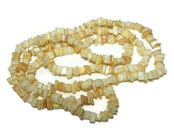 Mother of pearl necklace, necklace or supplies, small shell chip beads, natural MOP shell, 36 inch strand, chips range from small to medium