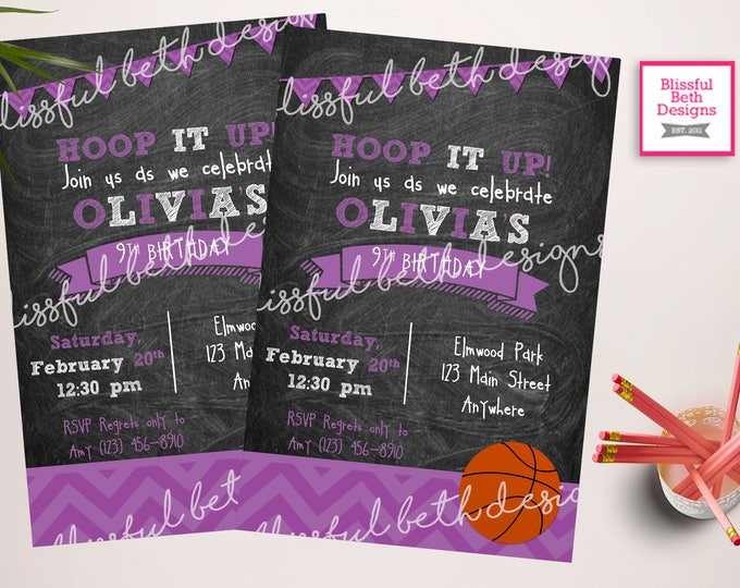 BASKETBALL BIRTHDAY INVITATION Purple Basketball Birthday Invitation,  Bball Birthday Invitation, Basketball Birthday Invite, Basketball