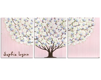 Girl Nursery Wall Art with Personalized Baby Name, Large Tree Painting, Pink, Purple, Green Canvas Triptych - 50x20