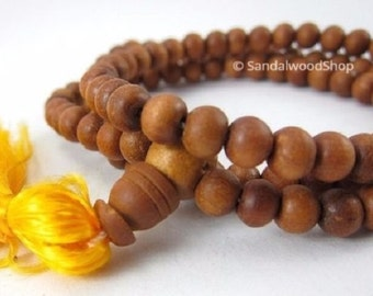 8mm--Pure Sandalwood Prayer Beads-108 Naturally Fragrant beads-Mala Necklace