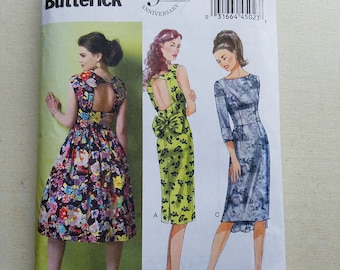UNCUT Butterick 5919 Women's Dress - Open Back Dress with Full or Pencil Skirt, Long Sleeves or Sleeveless - Size 6-14, Bust 36-44 - Cut Out
