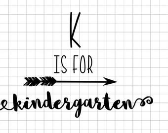 K is for kindergarten - iron on DECAL - customize your colors!