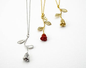 Beauty and the Beast Necklace, Red Rose Necklace,Simple Necklace, Delicate Necklace, Rose Necklace